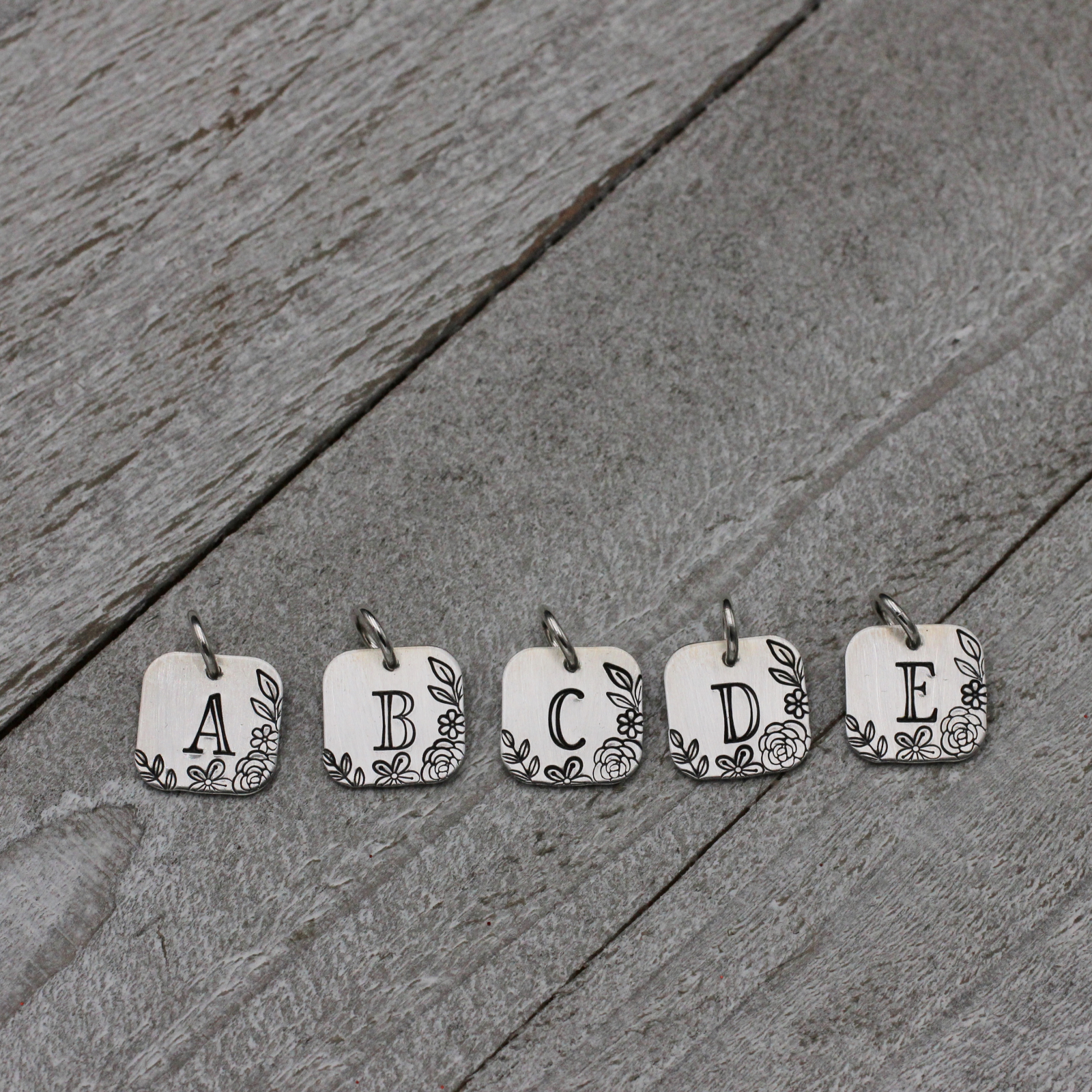 Floral Initial Charms; Sterling Silver Letter Charms | Anna Ourth