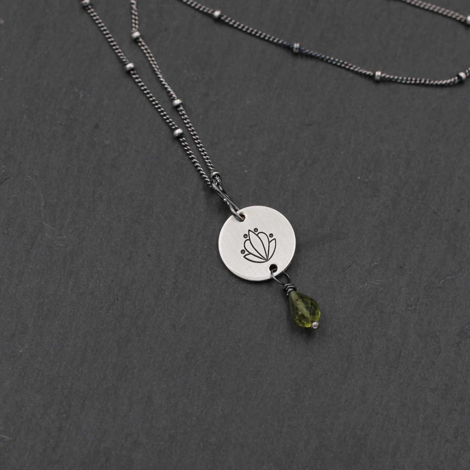 Sterling Silver Lotus Necklace With Peridot Hand Stamped